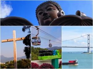 Big Buddha, Cross, Ngong Ping Cable Car, Bridge and ship