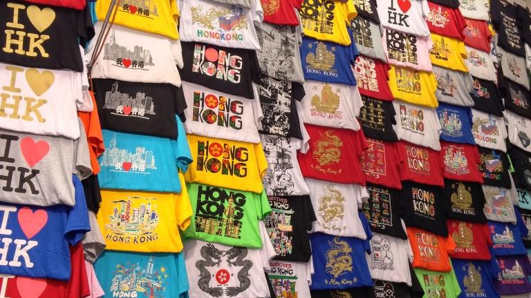Mong Kok Ladies Market T-shirts stall