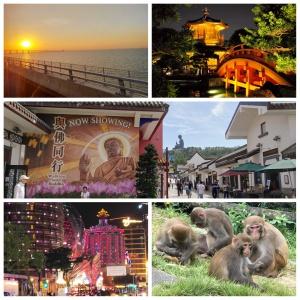 sunset, pavilion, Big Buddha, Macau at night, monkeys