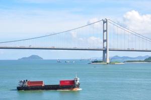 blue sky, white cloud, suspension bridge, sea, ship, islands