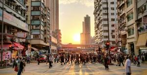 Cityscape plus sunset at Mong Kok