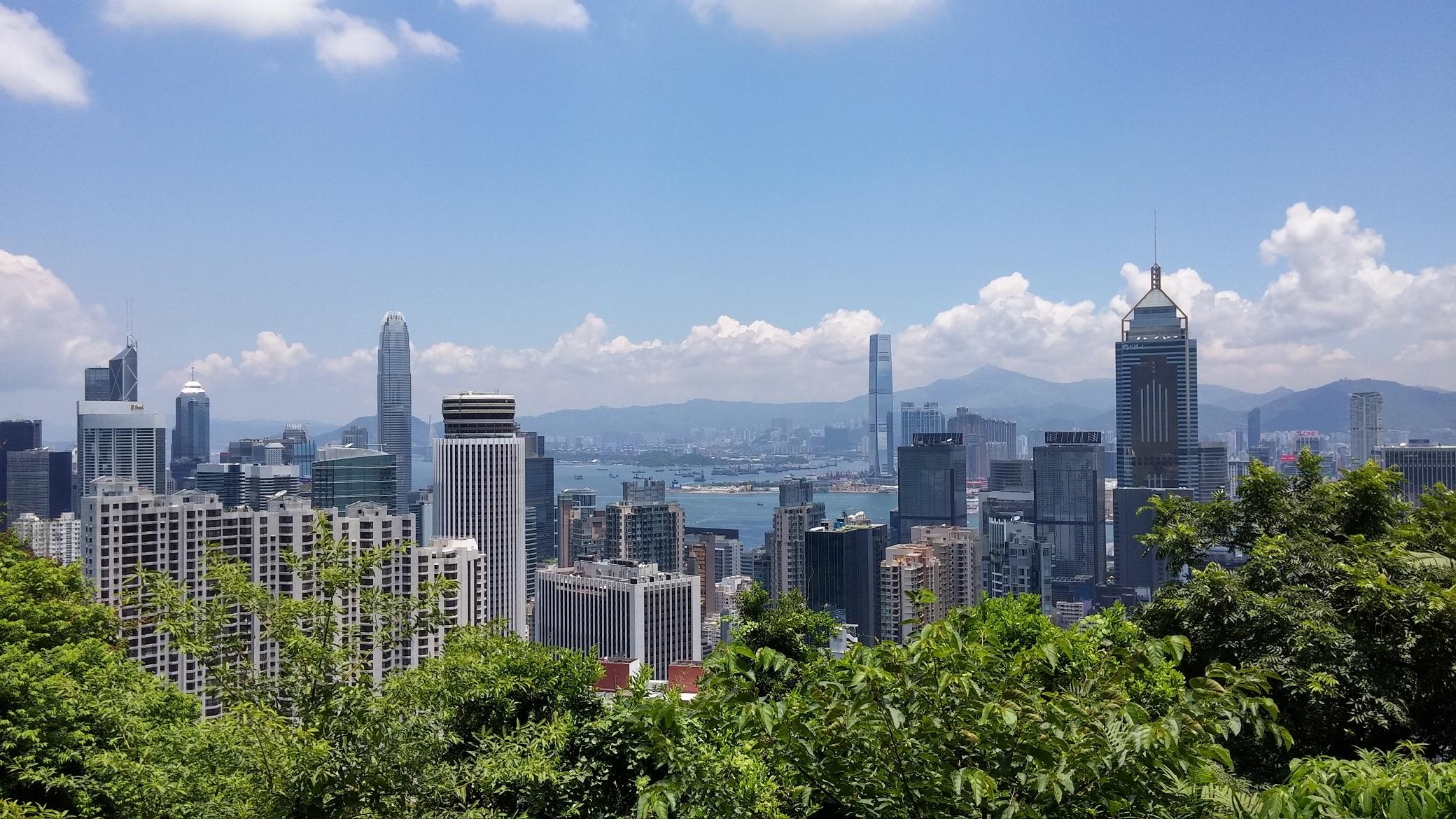 blue clear sky, Hong Kong skyline, harbor