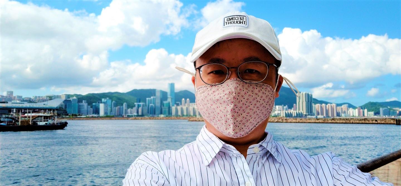 Frank the tour guide took selfie at Kwun Tong Promenade in June 2021.