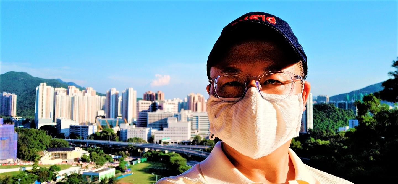 Frank the tour guide takes selfie at Shui Chuen O Estate